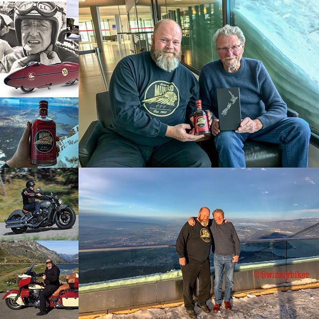deutsch weiter unten:  On Tuesday January 9 2018 I had the honor of meeting with John Munro and his wife Margaret from New Zealand on the Pilatus above Lucerne. John Munro is the son of the legendary Burt Munro who set a world record for 850 cc motorcycles at 288 km / h in 1962. We talked about doing a John Munro tour. Will you join us?   In 1967 Burt Munro had upgraded the engine to 950 cc and set a record in the class below 1000 cc at the age of 68. In the Great Salt Desert he reached with…