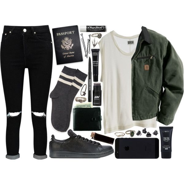 little big mistakes by velvet-ears on Polyvore featuring mode, Carhartt, Boohoo, Forever 21, adidas, ASOS, Pyrrha, Pamela Love, H&M and MAKE UP FOR EVER