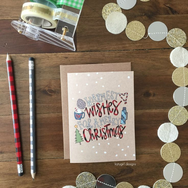 Warmest Wishes For A Merry Christmas - Individual Christmas Note Card by katygirldesigns on Etsy https://www.etsy.com/listing/459720448/warmest-wishes-for-a-merry-christmas