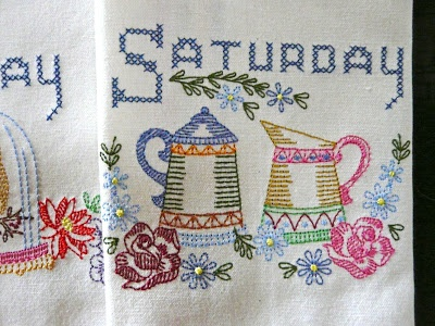 Timber Hill Threads: Victorian Day of the Week Dishtowels
