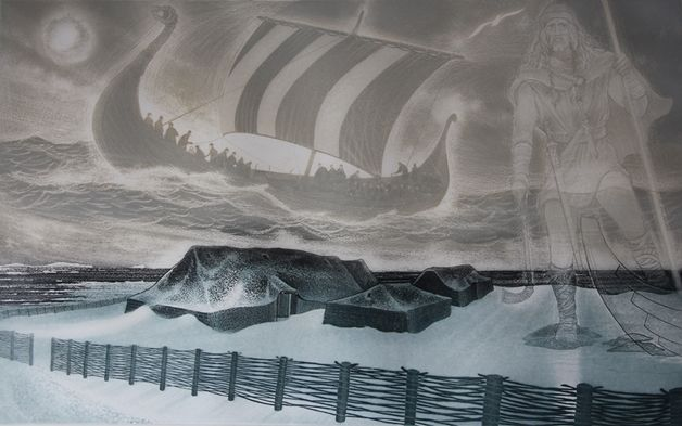 David Blackwood etching, L'anse Aux Meadows, Newfoundland, 1985, 20 X 32 inches, Edition of 100.