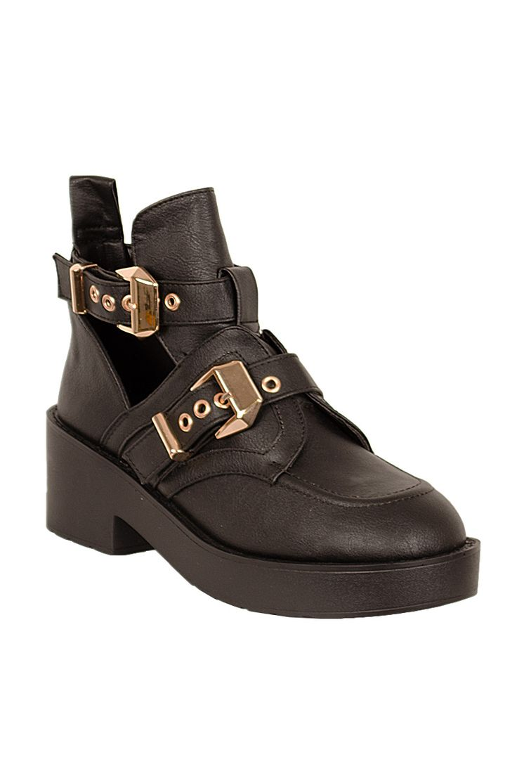 Miley Chunky Buckle Cut Out Boots Black http://www.fuchia.co.uk/products/footwear/boots/miley-chunky-buckle-cut-out-boots-black.aspx