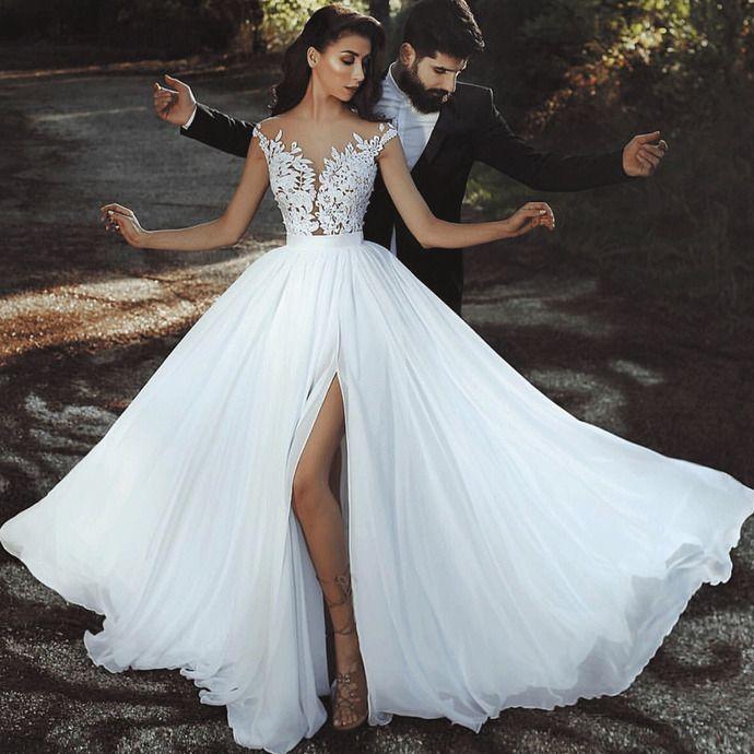 Chiffon Beach Wedding Dresses 2020 Cheap Lace Applique White