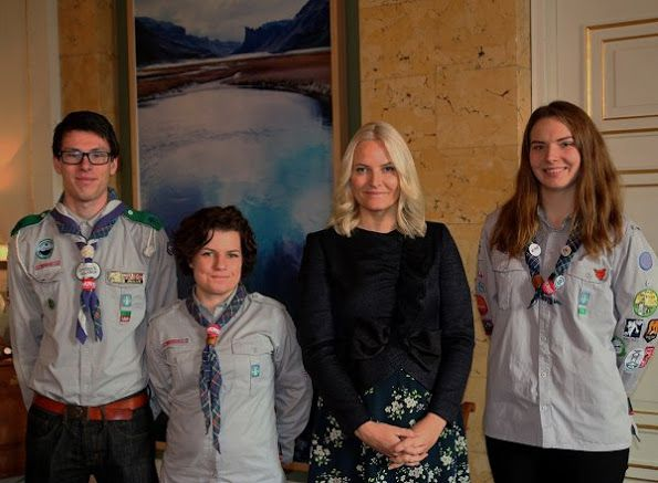 On November 29, 2016, Crown Princess Mette-Marit met with representatives of the Risør Chamber Music Festival and Norwegian Guide and Scout Association at Royal Palace in Oslo, Norway.