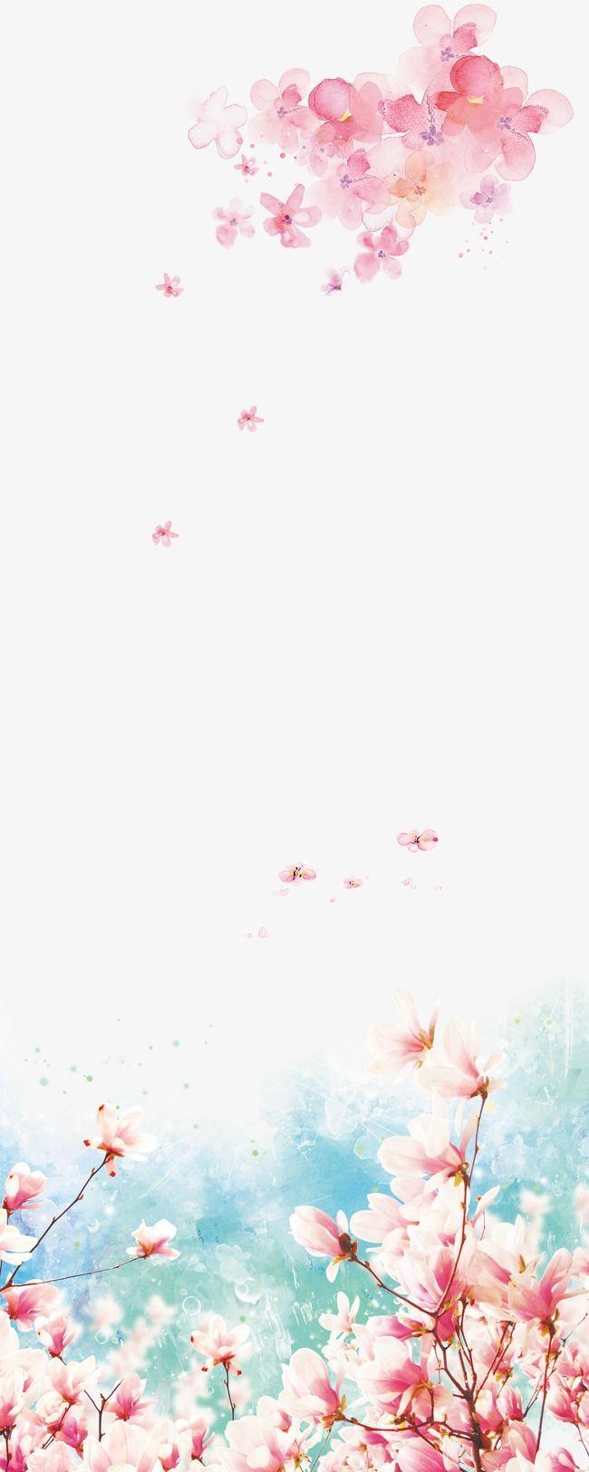 Flores cor - de - Rosa e pelo Fundo, Pintados à Mão, A Tinta, Flores Cor - De - Rosa PNG e PSD