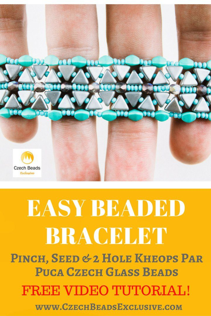 Pinch, Seed and 2 Hole Kheops Par Puca Czech Glass Beads - Easy Beaded Bracelet Video Pattern Free Tutorial  -> SAVE it! One of the easiest and practical pinch bead bracelet patterns for everyday wearing is waiting for you! This time it�s a pattern for Beaded Bracelet that every fashionable woman should have! We promise you, this 2 hole glass beads rope bracelets tutorial is very simple and you�ll need few material and time to repeat it! - all is good and possible with…