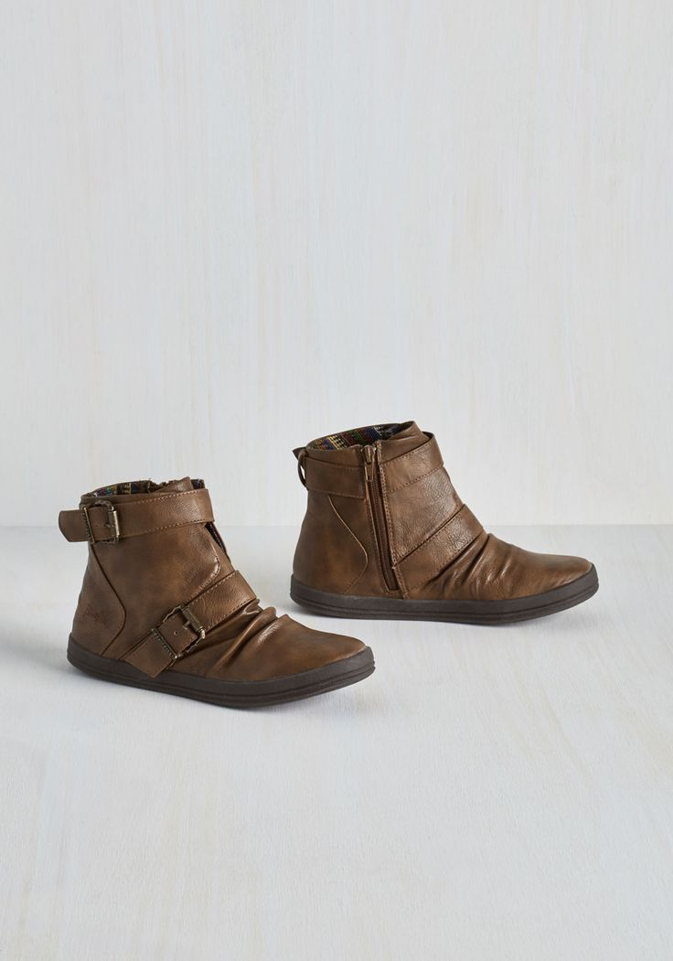 Night Class Cutie Bootie in Sepia. After a fun free day, youre ready to focus - and look fashionable while youre at it in these brown booties by Blowfish. #brown #modcloth