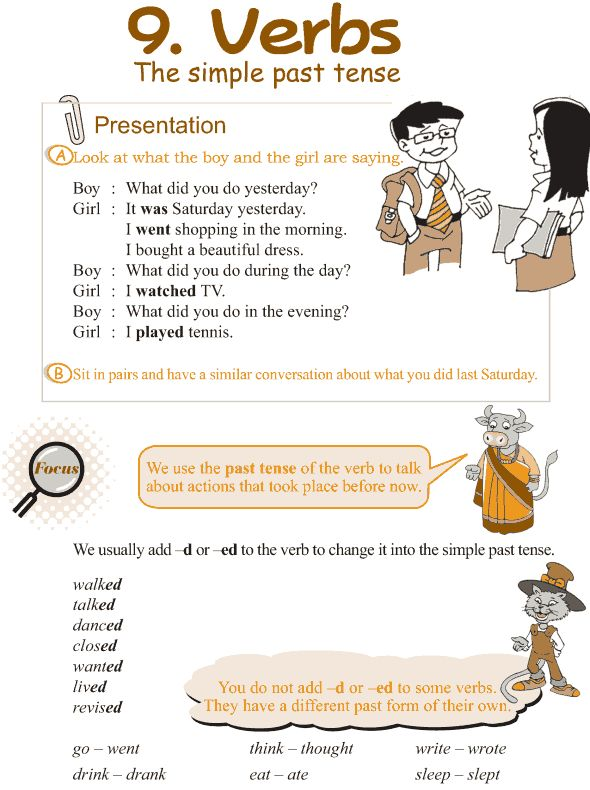 Grade 3 Grammar Lesson 9 Verbs – the simple past tense