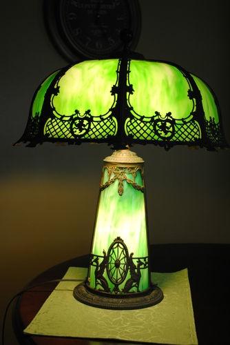Art Nouveau Handel, Bradley Era Slag Lighthouse Rare Table Lamp