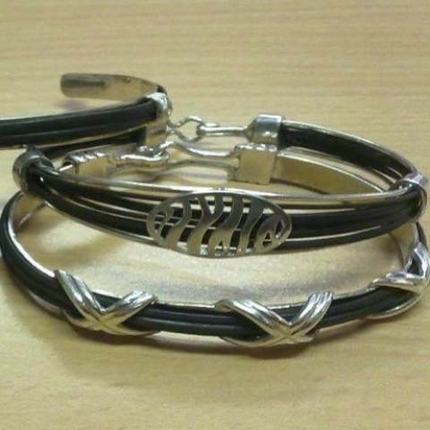 Criss Cross Capped Elephant Hair Bangle -Handcrafted in Sterling Silver or Gold.  GoodiesHub.com