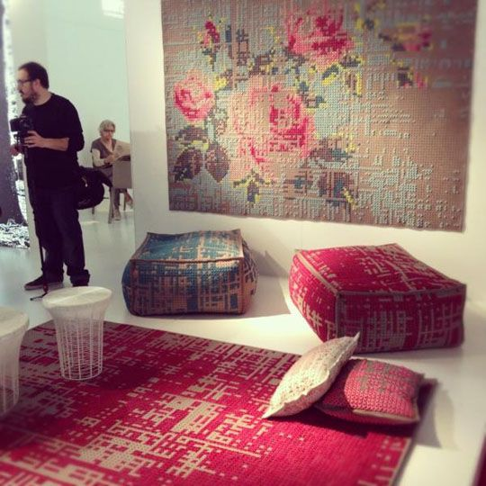 Cool wall art! floor cushions, tapestry, rug...(by Charlotte Lancelot)