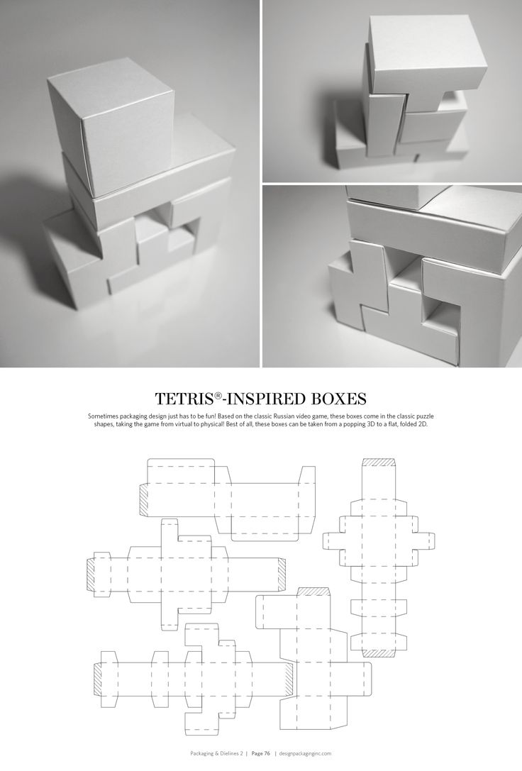 Tetris-Inspired Boxes – structural packaging design dielines