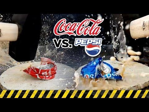 EXPERIMENT: COCA-COLA vs. PEPSI - Will They Resist to The 13 Lbs (6kg) Sledge HAMMER? - Slow Motion - YouTube