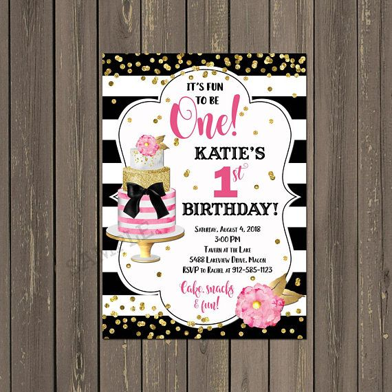 Pink and Black Party Invitation Fun to be One invite 1st Birthday Invitation Girls 1st Birthday Cake First Birthday Party Invitation