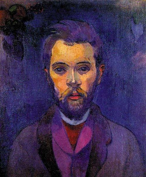 Dit portret zit in de donkere kleuren zoals een paar kleuren paars, zwart, roze etc. De huidskleur is weer een lichtere kleur waardoor het gezicht eruit springt -Paul Gauguin: Portrait de William Molard, 1893-1894