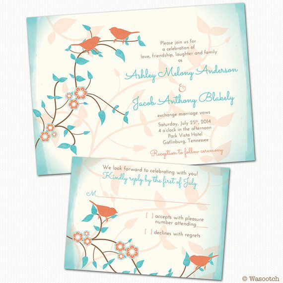 Printed Birds Leaves Flowers Turquoise Coral Wedding Invitation and RSVP card... comes with standard envelopes. By wasootch, starting at $115.00 for 50 of each of them. Price includes shipping.   #weddings #weddinginvitations #weddinginvites