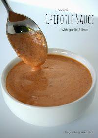 Creamy Chipotle Sauce: Greek yogurt, chipotle in adobo sauce, adobo sauce, garlic, lime, & cumin.
