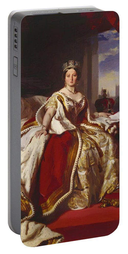 Queen Portable Battery Charger featuring the painting Queen Victoria 1859 by Winterhalter Franz Xaver