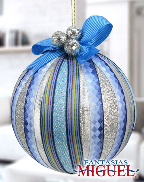 Esfera azul list n diamantina navidad 2014 adorno - Esferas de navidad ...