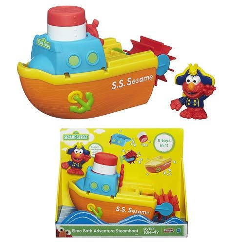 Take off on a watery adventure with the #Elmo #Bath Adventure Steamboat! There are 5 different toys in one 1 for unlimited, imaginative bath-time play. Includes boat toy (4 pieces) and 1 Captain Elmo figure. Elmo's Boat measures about 10-inches long x 6-inches tall. Ages 1.5 to 4.