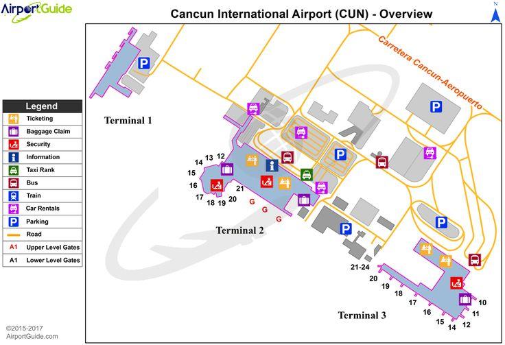 Cancún - Cancún International (CUN) Airport Terminal Map - Overview
