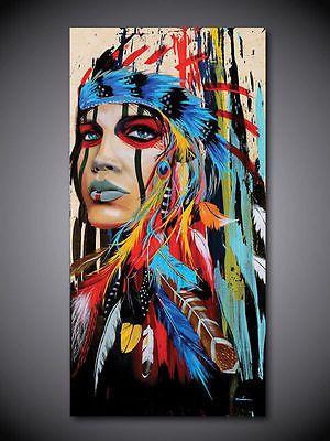 Moderno-Abstracto-Pintado-A-Mano-Pintura-al-oleo-sobre-lienzo-Indio-Mujer-50x100cm