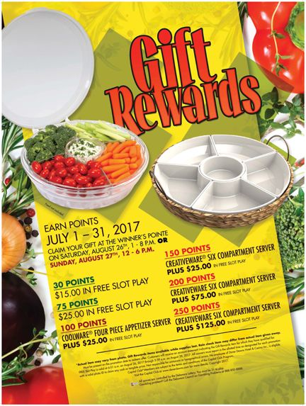 Gift Rewards - earn in July and redeem on Aug 26 or 27th. #ComePlay