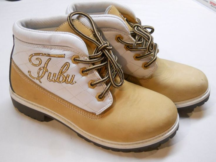 Fubu Women's Hiking Boots Tan White Synthetic Leather US Shoe Size 7.5 #Fubu #HikingTrail