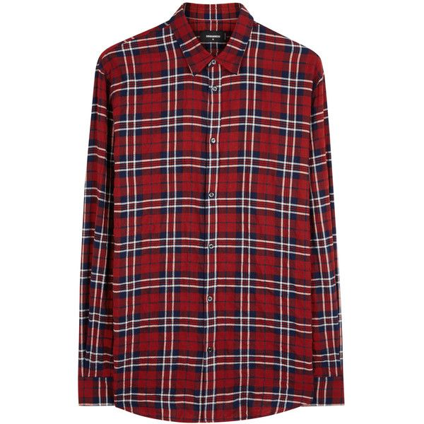 DSQUARED2 Red checked flannel shirt (16,915 THB) ❤ liked on Polyvore featuring men's fashion, men's clothing, men's shirts, men's casual shirts, mens red shirt, mens red checked shirt, mens checked shirts and mens red flannel shirt
