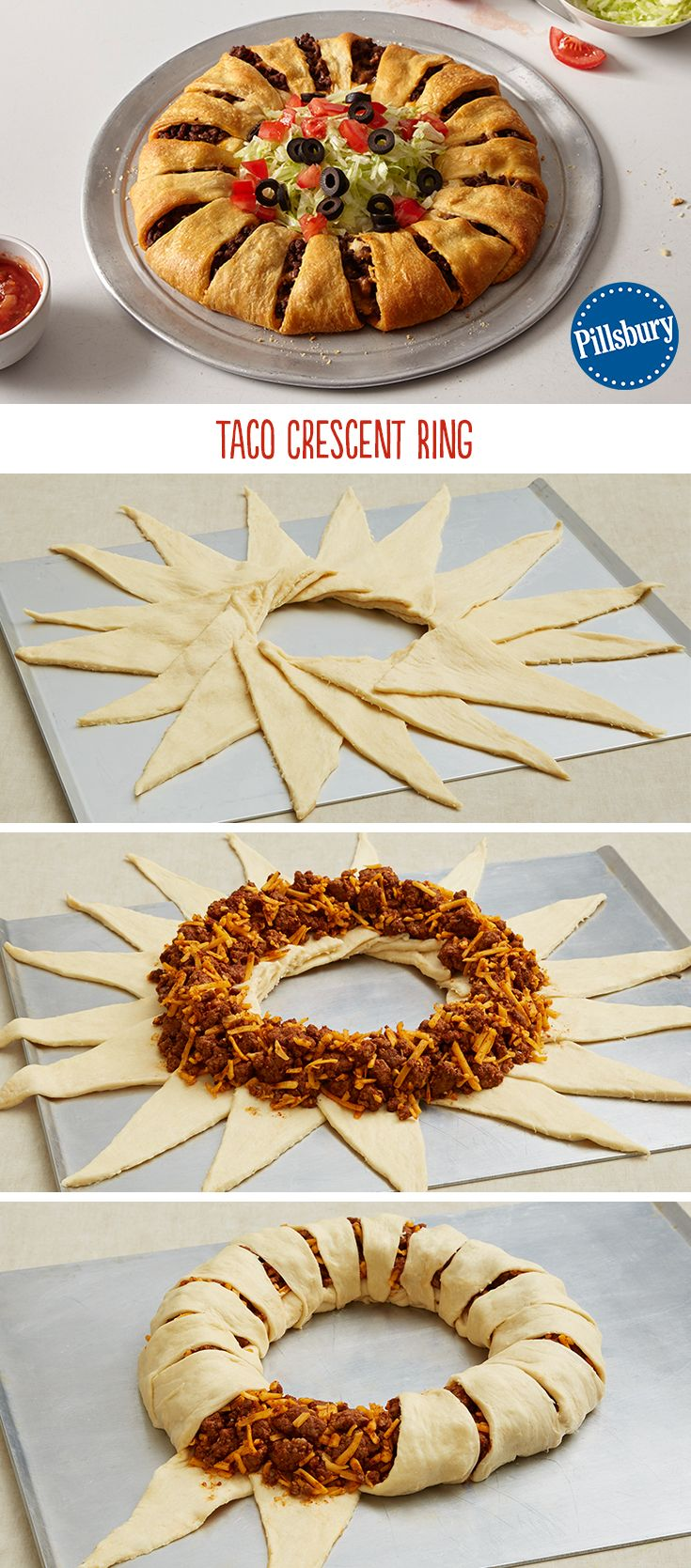 An easy alternative to regular tacos: Taco Crescent Ring!  A really simple and delicious weekday dinner for the family. Prepare with your favorite yummy taco additions like lettuce, tomatoes, olives, onions and salsa!