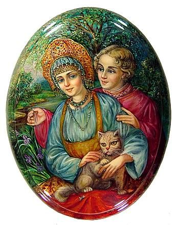 """""""Couple With Cat"""" Lacquer Art by M Vagner (Fediskino)"""