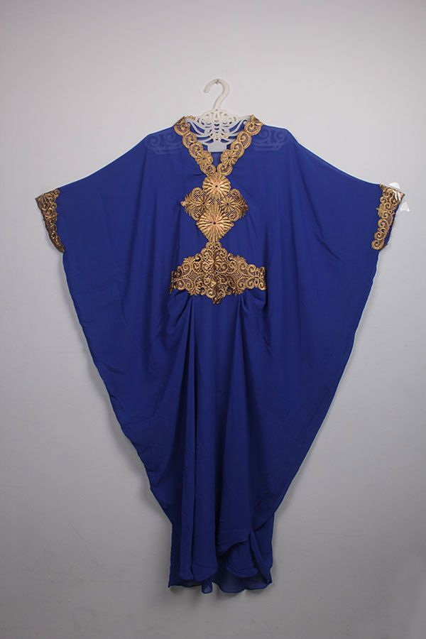 Wedding Moroccan Blue Chiffon islamic Caftan Party Maxi Dress Gold Embroidery #Handmade #MaxiDress #weddingparty