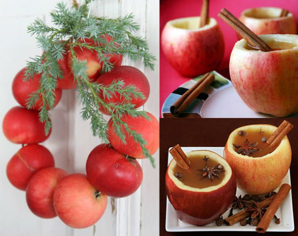 Apples on Christmas: Wreath of apples and apple cup