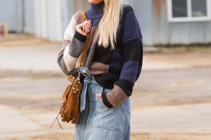 Oversize sweater and denim skirt on The Boyish Girl