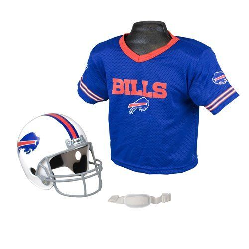 Buffalo Bills Youth NFL Helmet and Jersey Set by Franklin. $29.95. Mesh Jersey. Molded Plastic Helmet w/ Face Mask and Chin Strap. Official NFL Logos. THIS ITEM IS INTENDED FOR PRETEND PLAY ONLY!. Franklin's Universal Youth Replica NFL Helmet and Jersey set comes with a molded plastic football helmet and mesh jersey so your child can pretend to be their favorite NFL player. This product is officially licensed by the NFL but is not designed for competitive play...