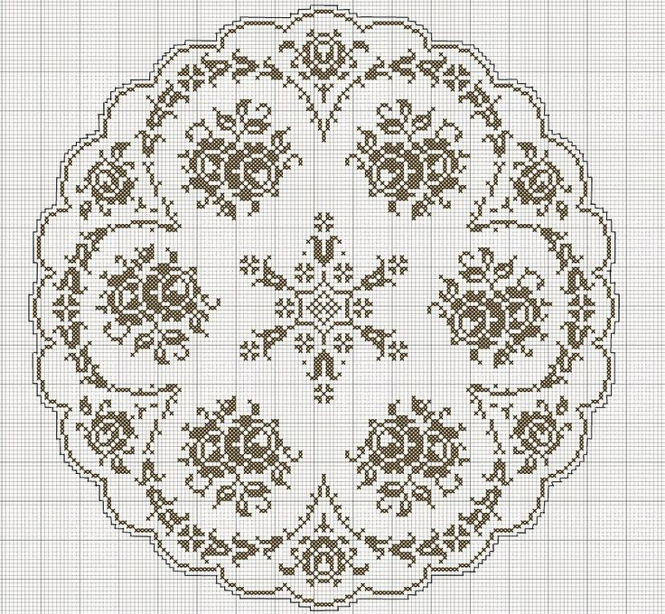 roses filet crochet tablecloth