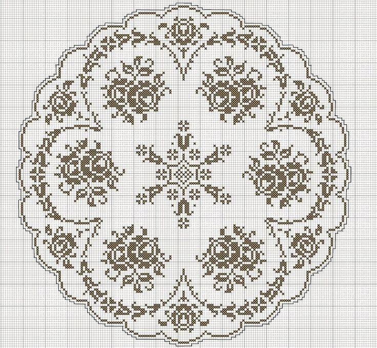 roses filet crochet tablecloth