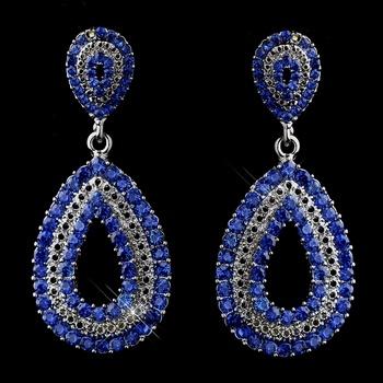 Royal Blue Earrings for Prom or Wedding! lots of sparkle here! affordableelegancebridal.com