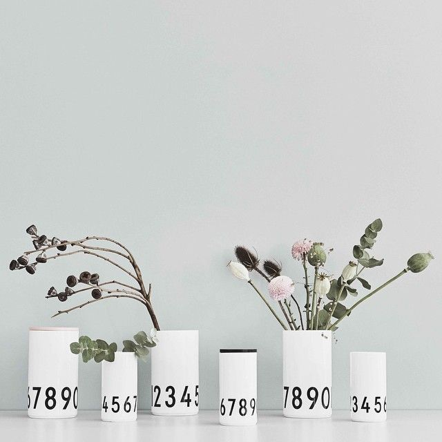 Design Letters porcelain vases featuring AJ Vintage ABC numbers from 0-9. Add a lid and use the vase as storage jar. Available in two sizes.