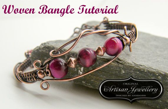 Wire Wrapped Bangle Tutorial, Woven Bracelet, PDF, Instant Download, Jewelry Instructions, Jewellery Pattern, Wire Work, Supplies For Making