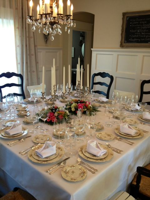 Table for 12 set for dinner.