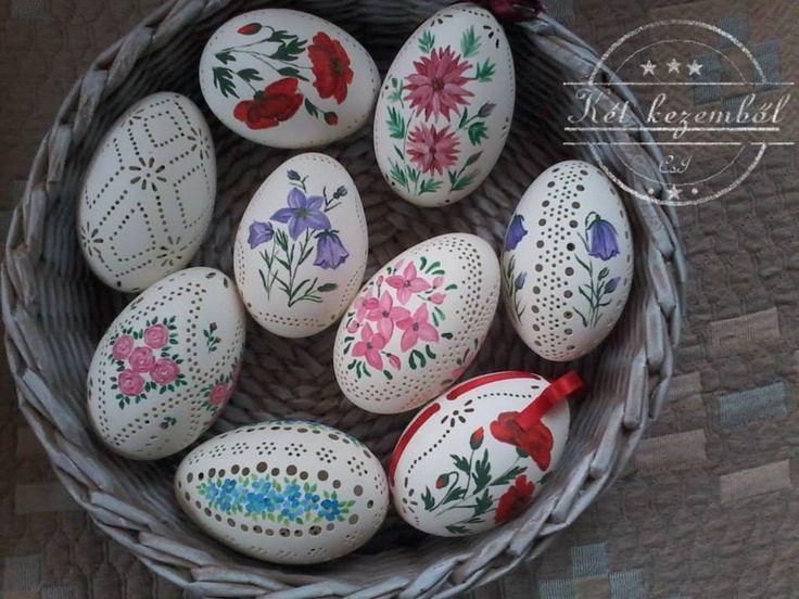 Kézzel festett, csipkézett tojások
