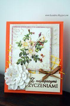 kartka z życzeniami - kolor pomarańczowy