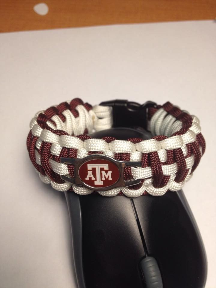 Paracord Bracelet, Texas A&M colors W/logo, Made In Usa By Retired Af Vet