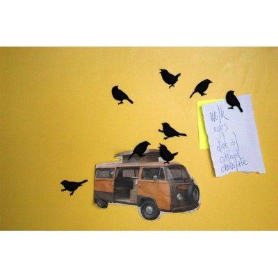 Magnesy na lodówkę - czarne ptaszki 8 szt. The ZOO