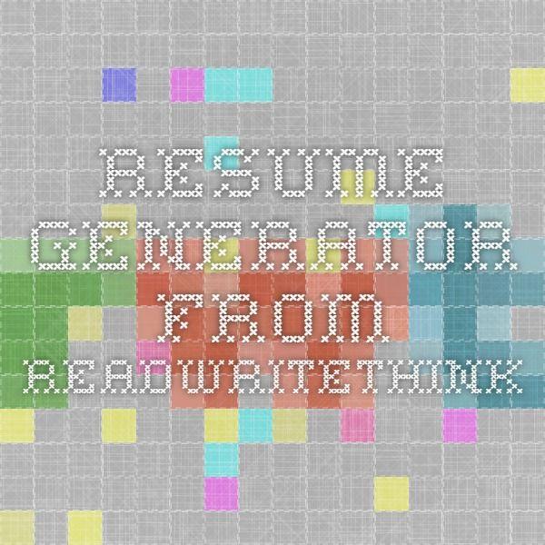 Resume Generator from ReadWriteThink