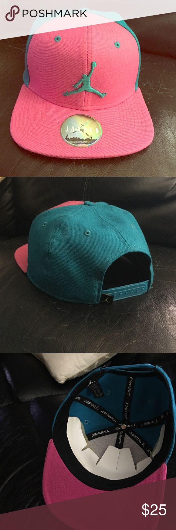 NWOT Jordan snap back hat Fuchsia and teal Jordan snap back minor Knicks in the snaps but that's the way it was bought(pictured) Jordan Accessories Hats