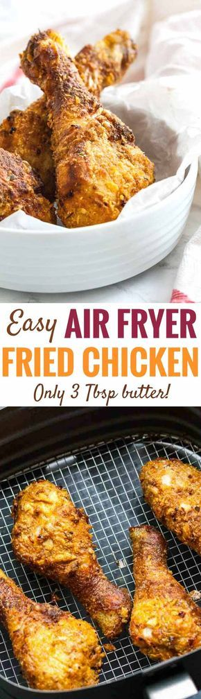 Juicy Air Fryer Chicken Drumsticks - made with only 3 Tbsp butter but full of flavor and really easy to make. They're tender and juicy inside and crispy on the outside just like your favorite take-out. Making fried chicken in the Air Fryer save calories and time! Perfect for any occasion. #friedchicken #chicken #airfryer #recipes #partyrecipes