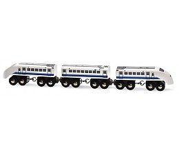 Deze mooie Japanse hogesnelheidstrein is een mooie aanwinst voor je treinbaan!  Afmetingen: D34 x H46 x B389 mm.  Inhoud: 3-delig.  Deze trein is combineerbaar met alle BRIO treinen en de BRIO houten spoorwegen.  http://www.planethappy.nl/brio-treinen-hogesnelheidstrein-japan.html