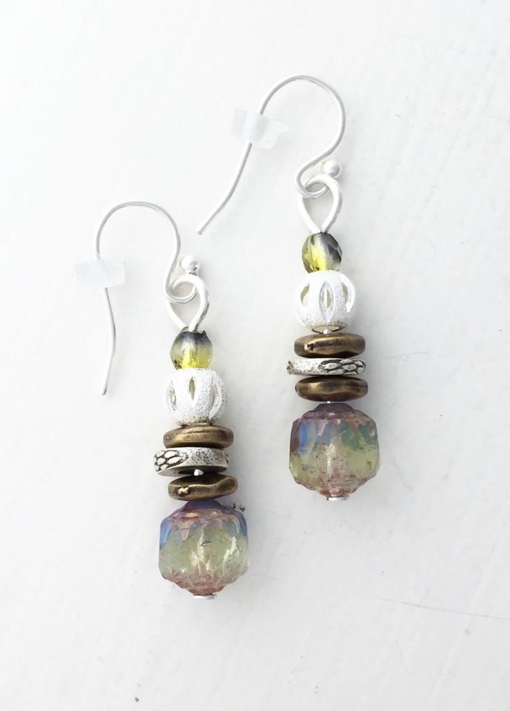 Sterling silver, aquamarine green, blue, and bronze Czech glass drop earrings by ShereesTrinketBox on Etsy